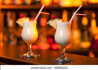 Pina Colada cocktails shot on a bar