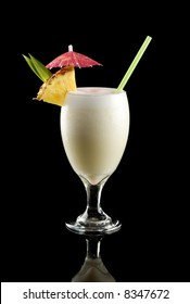 Pina colada isolated on a black background.