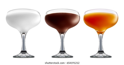 Pina colada, white russian,Irish Cream chocolate Liqueuron, mimosa fresh fruit alcohol cocktail or mocktail in margarita glass with blue white and orange beverage isolated on white background