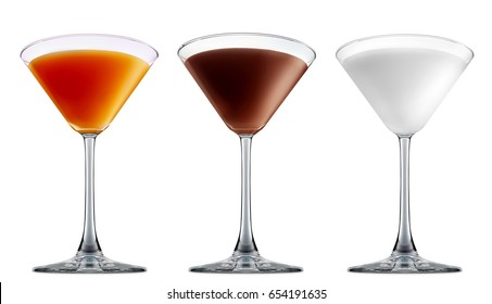 Pina colada, white russian,Irish Cream chocolate Liqueuron, mimosa fresh fruit alcohol cocktail or mocktail in martini glass with blue white and orange beverage isolated on white background