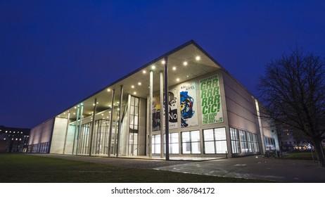 The Pinakothek der Moderne (Gallery of the Modern) at Night, Munich, Germany - 4 Feb 2016: It is a modern art museum designed by German architect Stephan Braunfels.