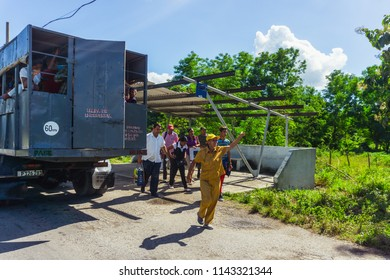 Pinar del Rio, Cuba. 2 December 2017. Local transport on Cuba. Trucks converted to buses named camion are transporting local people due to expensive normal buses.
