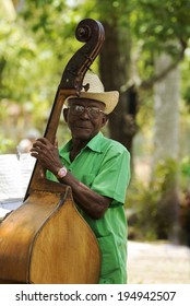 PINAR DEL RIO, CUBA - MAY 7, 2014: Old man plays the contra bass. Cuban music is an attraction for the over 2 million tourists who go to Cuba each year.