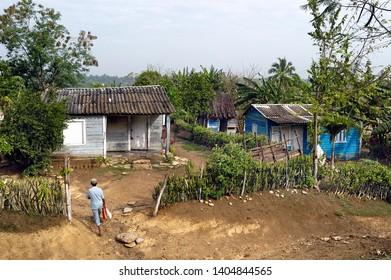 PINAR DEL RIO, CUBA-APRIL 14, 2018: A small settlement at rural area near Pinar del Rio at Cuba