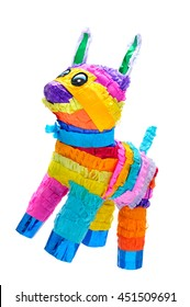 Pinata, Mexican traditional crafted toy very popular in posadas and parties, white isolated