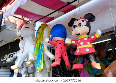 Pinata store in Oaxaca, with hanging display featuring various animals. Oaxaca, Mexico. February 3, 2020