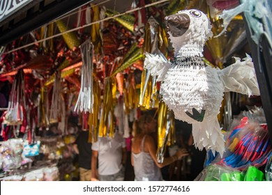 Pinata Store selling Pinatas in colonial City Valladolid in Mexico