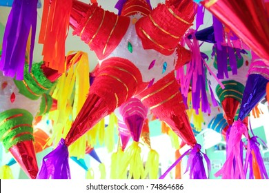 pinatas star shape mexican traditional party colorful celebration