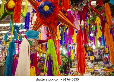 Pinatas in a traditional market in Mexico
