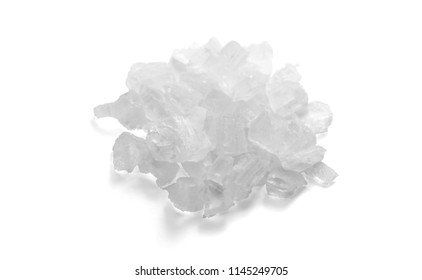 A Pinch of Coarse Sea Salt Closeup Ready for Grind Mill or Cooking or Therapeutic. Can be Used for Logotype. Isolated on White Background.