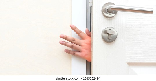 Pinching  hand at the door Accident and safety precaution concept