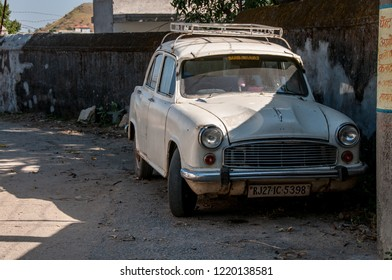 PINDWARA, RAJASTHAN,INDIA - OCT 19,2011 : an old, classic and charming Austin Ambassador is parked on the streets of Pindwara, Rajasthan on October 18, 2011.