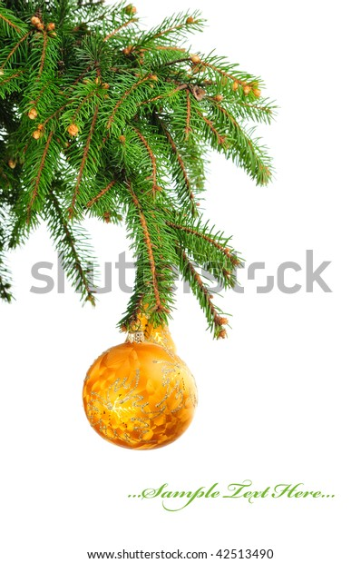 Pine branches and christmas ball isolated on white background