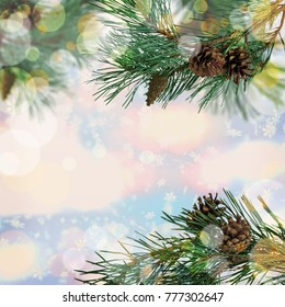 Pine branches with cones close-up. Winter background. Christmas background with bokeh.