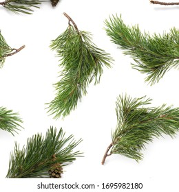 Pine branches isolated on white background, seamless pattern. Christmas and New Year background. - Shutterstock ID 1695982180