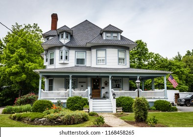 Pine Bush, NY /USA - June 9, 2018: Front exterior view of  Victorian manor now known as the Pine Bush House Bed and Breakfast.