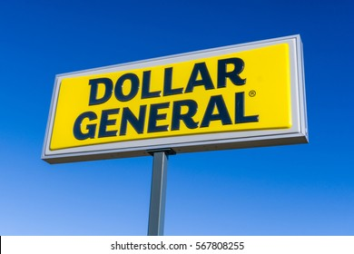 PINE CITY, MN/USA - JANUARY 29, 2017: Dollar General exterior store sign and logo. Dollar General Corporation is an American chain of variety stores.