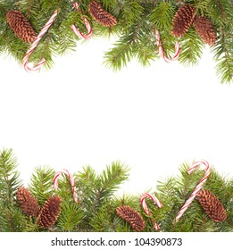 Pine cone Christmas border with candy canes on white background
