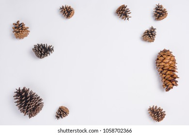 Pine Cones Flat Lay Top View on White Background