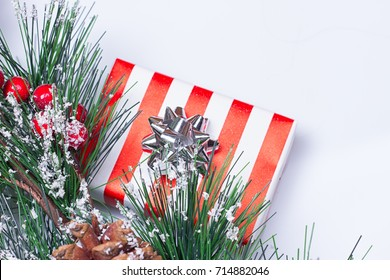 Pine Cones and Gifts on the white background