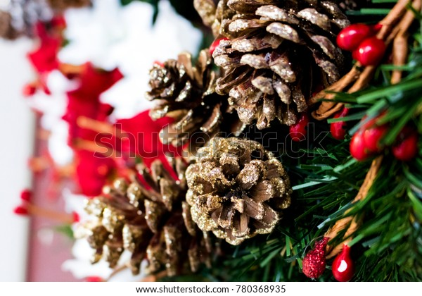 Pine Cones on a Christmas Holiday Wreath