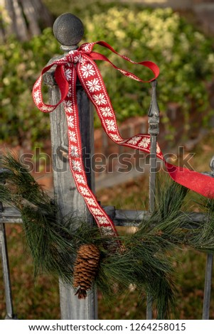 Pine Garland Pine Cones Red Ribbon Stock Photo Edit Now 1264258015