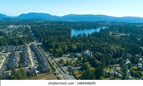 Pine Lake Neighborhood Sammamish Washington USA Aerial View