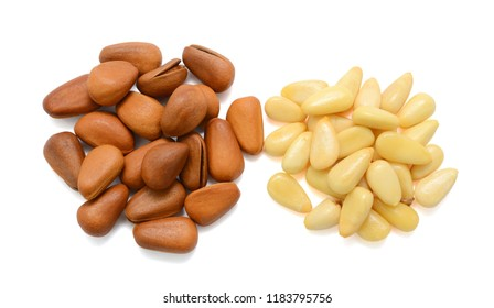 pine nuts isolated on white background