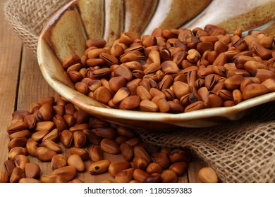 Pine nuts in plate.