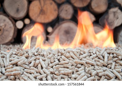Pine pellets in flames- selective focus on the heap