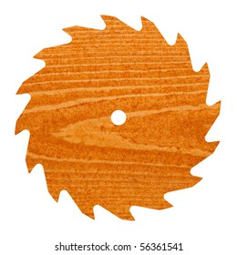 Pine or spruce (softwood) deck board stained with cedar colored transparent deck stain shaped like circular saw blade.