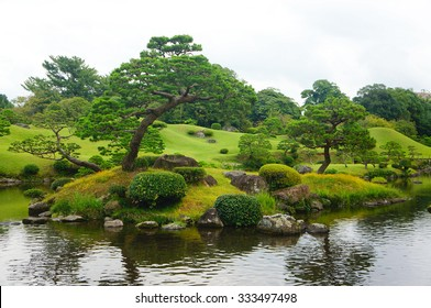 Pine trees in famous Suizenji garden, Kumamoto, Japan