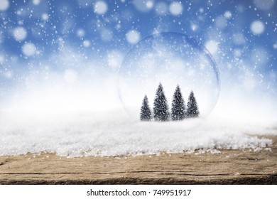 Pine trees in glass bubble ball on Christmas snow and wood background. Frost snow and wooden desk space.