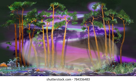 Pine trees on abstract purple background