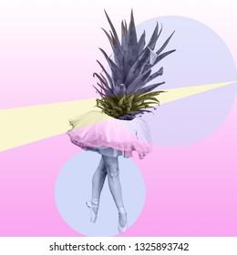 Ananas- und Körpertanzkunst, Popfarben, surreale Stimmung