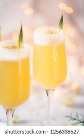 Pineapple and Coconut Champagne Cocktail for Celebration like Christmas or New Year