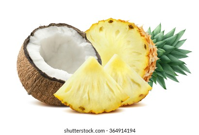 Pineapple coconut pieces composition 2 isolated on white background as package design element for tropical cocktails