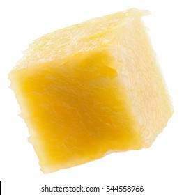 pineapple cube slice isolated on the white background