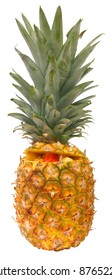 Pineapple filled with fruit, isolated against background