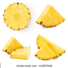 pineapple fruit collection isolated on white pineapple Clipping Path