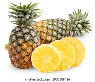 Pineapple fruit with slice isolated on white background, Fresh Pineapple on White Background With clipping path.