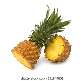 pineapple fruit with slice isolated on white background