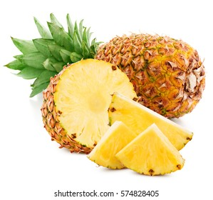 pineapple fruit with slices isolated on white pineapple