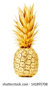 Pineapple in gold isolated on white