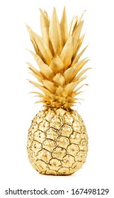 Pineapple in gold isolated on white background