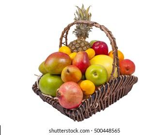 Pineapple Grape Melon Oranges Apples Pomegranate Kiwi Grapefruit Tangerines Fruits Basket