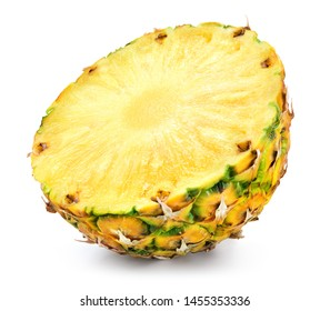 Pineapple half. Cut pineapple on white background. Pineapple isolate. Full depth of field.