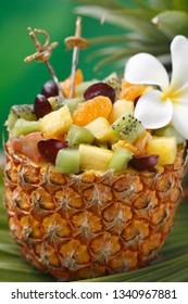 Pineapple half/ Exotic fruit salad in a hollowed out pineapple half