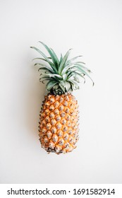 Pineapple isolated on white background. Flat lay, space for text.