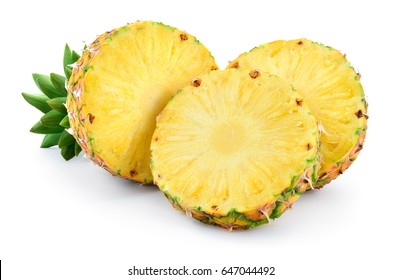 Pineapple isolated on white background. Ripe half and round slices of fruit with leaves. Full depth of field.